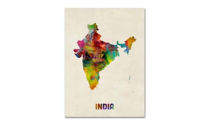 Michael tompsett india watercolor map canvas art groupon groupon goods michael tompsett india watercolor map canvas art gumiabroncs Choice Image