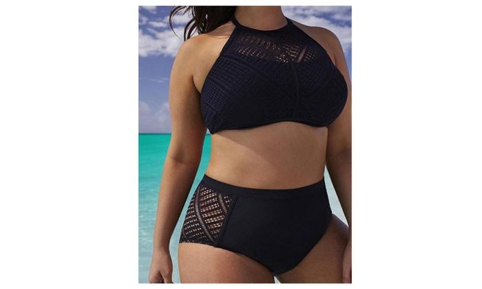 Black Plus Size Backless High Waist Bikini Sets