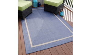 Area Rug, Indoor and Outdoor Stain Resistant Rug with Border by Lavish Home