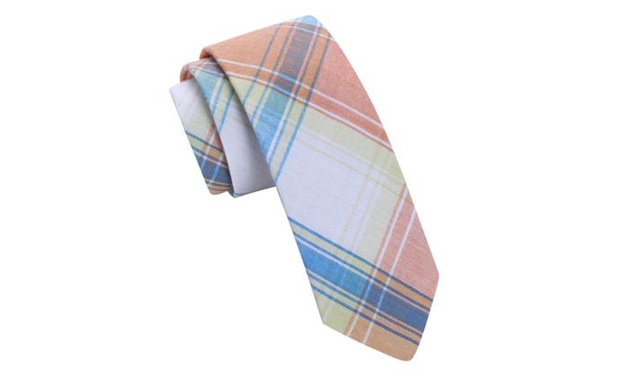 Skinny Tie Madness Men's Alive Orange Plaid Skinny tie