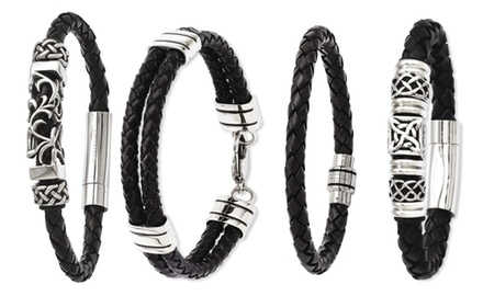IceCarats Designer Jewelry Men's Black Leather and Stainless Steel Bracelets in Multiple Styles