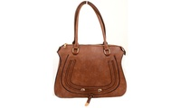 Tan Vegan Leather Western Inspired Large Fashion Tote Bag Purse (4everfunky) photo