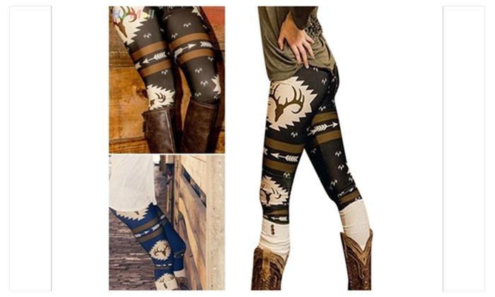 Christmas Deer Printed Slim Narrow Leg High Waist Long Pants Leggings