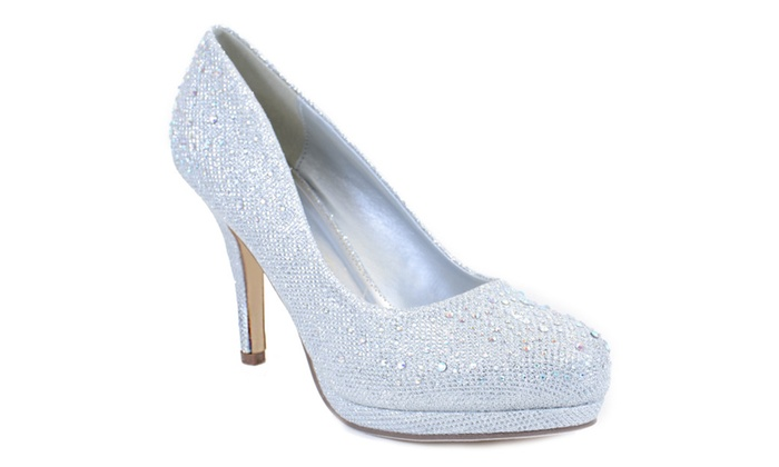 Jeweled Glitter Beaded Formal Party LOW Heels Silver Pumps