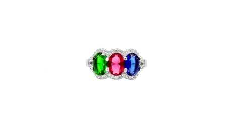 Multi Color Crystal Ring Made With Crystals From Swarovski