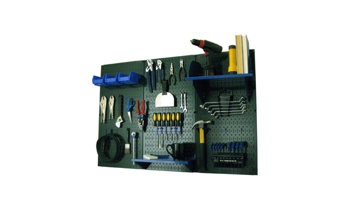 Wall Control 4ft Metal Pegboard Standard Tool Storage Tool Kit Green