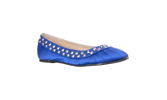 Riverberry Women's 'Sara-302' Studded Ballet Flats, Blue
