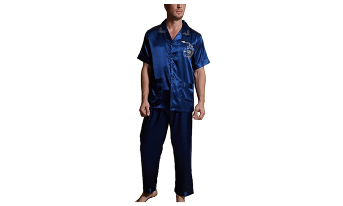 DPN Men's Spring Fashion Embroidered Button Up Pajamas Set