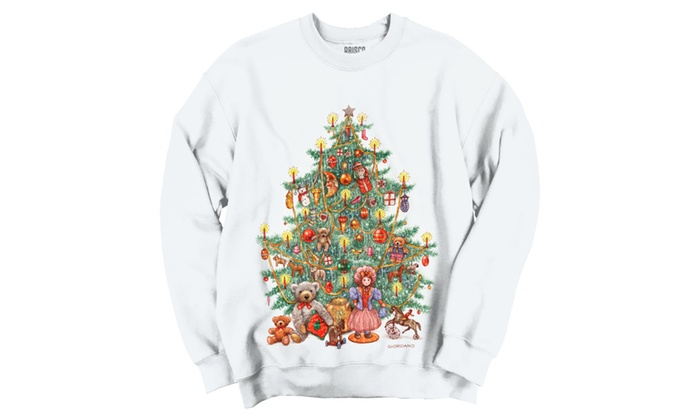 Christmas Tree Full of Toys with Candles Crewneck Sweatshirt