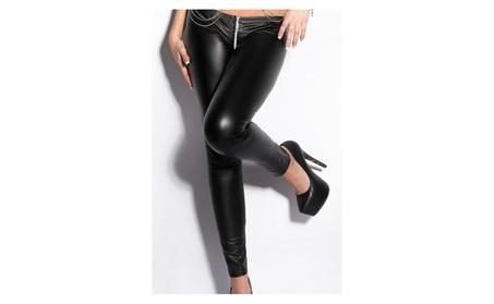 Women's Wet Look Zippered Leather Leggings c2b39ac7-9dcc-4b31-b199-b0e7f7c83f15