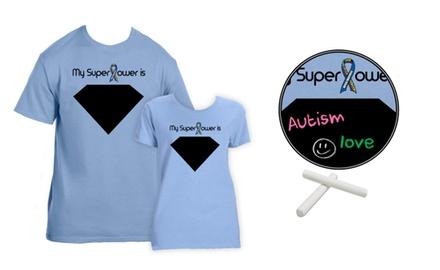CB010 Chalkboard Autism Awareness Superpower T-shirt