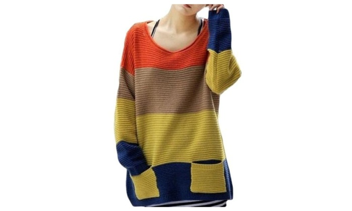 SKCUTE Striped Sweaters Knitted Two Pockets Orange - Colorful / One Size