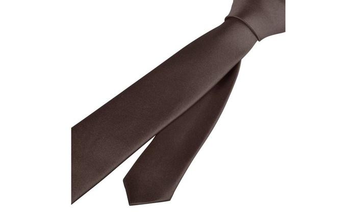 Zodaca Brown Casual Slim Plain Men's Solid Neck wedding Tie Necktie
