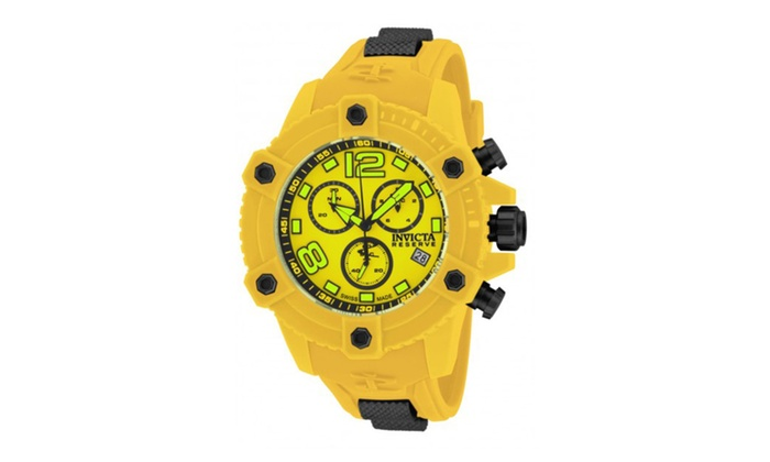 Allurez com: Invicta 17294 Yellow Dial Reserve Quartz Chronograph Mens Watch
