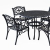 Biscayne 5PC Set 42 Inch Round Outdoor Dining Table Black Finish