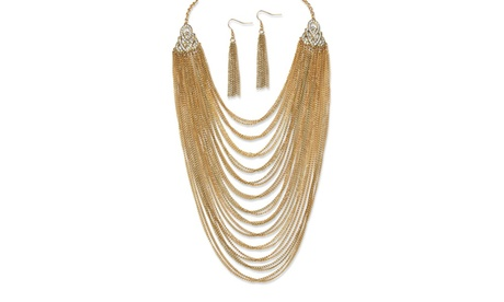 2 Piece Multi-Chain Jewelry Necklace and Earrings fa8d9954-cebb-4597-afe5-339d6c8bc635