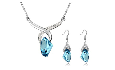 KATGI 18K White Gold Plated Fashion Women Sky Blue Crystal Necklace and Earrings Set