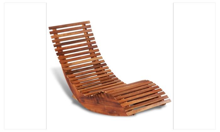 Rocking Outdoor Folding Sun Lounger Garden Chaise Lounge Chair