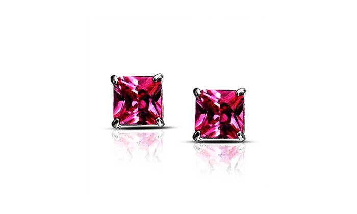 d23e45d53 14K White Gold Over Silver Princess Pink Cubic Zirconia Stud ...