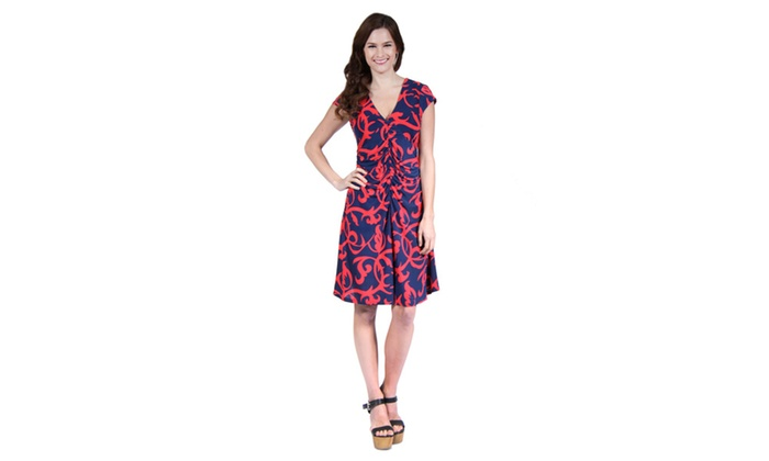 Woman's Navy&Red Abstract Printed Faux Wrapped Dress