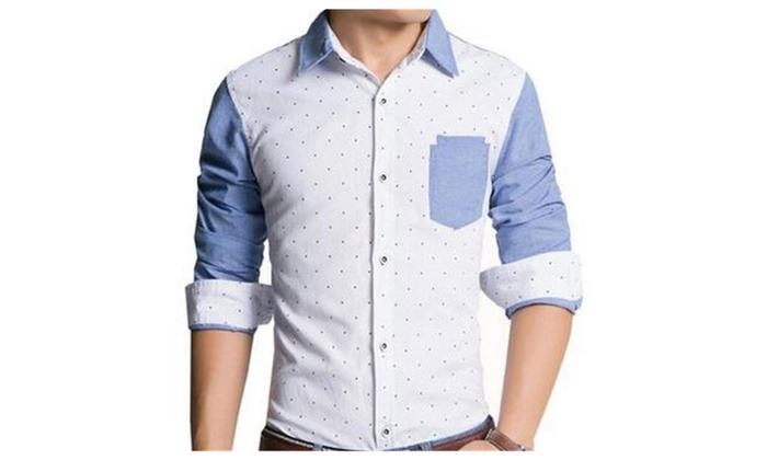 Men's Fashion Fitted Long Sleeve Color Block Casual Button Down Shirts