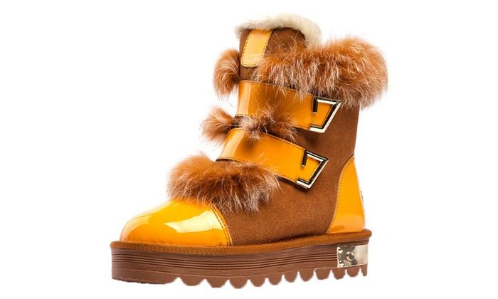 Shefetch Women's Faux Fur Buckle Snowy Boots