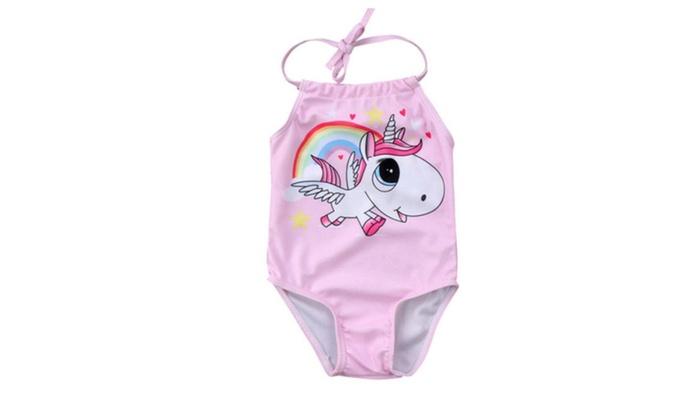 70be16acf4 Newborn Baby Girl Fun Pink Unicorn Bathing Suit | Groupon