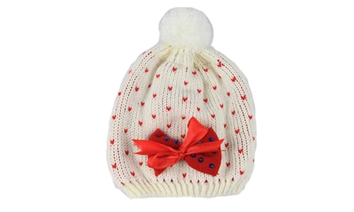Shefetch Women's Winter Worsted Bow Ball Casual Crewneck Wool Hat - Red