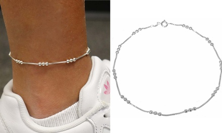 Italian Made Sterling Silver 9 or 10 Inch Triple Bead Anklet Was: $30.99 Now: $10.