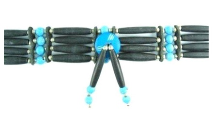 one Choker Necklace Buffalo Bone Black Hairpipes Turquoise Beads Hand Crafted