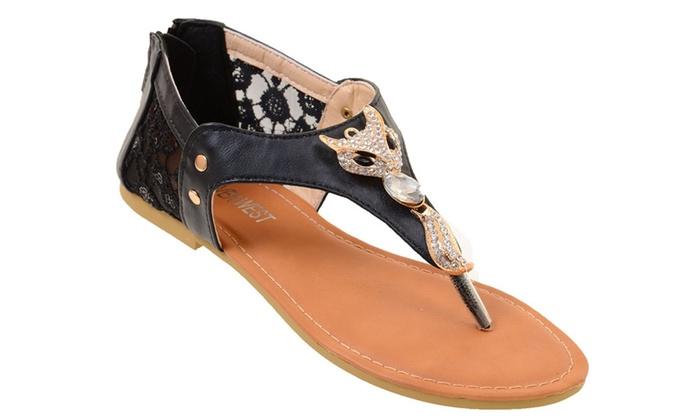 Cute Fox Sparkle & Lace Flat Flip Flop Thong Vegan Leather Sandals