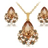 African Crystal Rose Gold Color Crystal Necklace Earring Set for Women