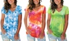 Women's Fashion Short-Sleeved T-shirt V-neck Loose Tie-Dyed Top
