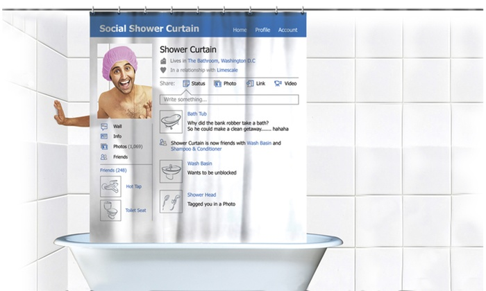 Social Media Facebook Shower Curtain Gag Gift