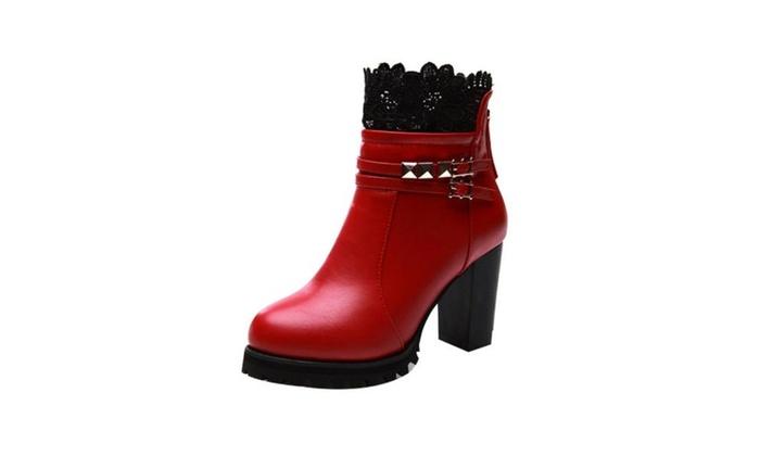 Women's Ladies Round Toe Zip Marten Boots Shoes