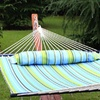 Quilted Fabric Double Hammock, Blue Green Stripe
