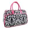 Pink Black Damask Vegan Leather Pink Trim Duffle Travel Luggage Bag