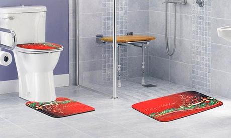 iMounTEK Extra Absorbent & Non-Slip Christmas Bathroom Rug Set (3-Piece)