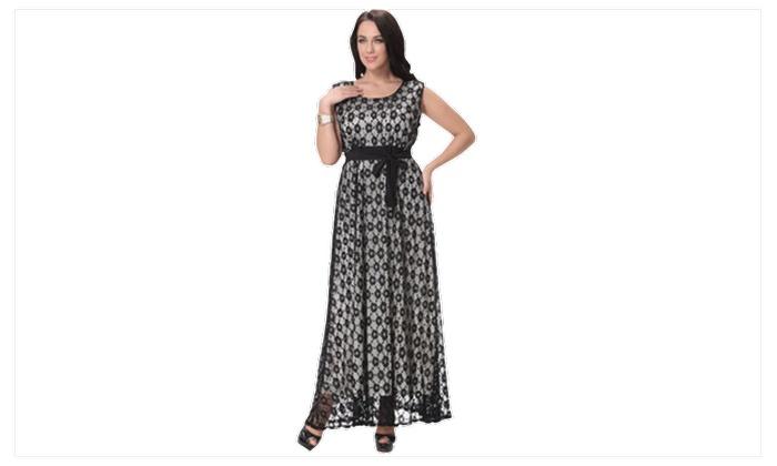 Women Waist Fasten Plus Size Sleeveless Long Cocktail Dress  c243fe7d6