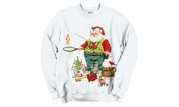 Fishing Santa With Toys Crewneck Sweatshirt