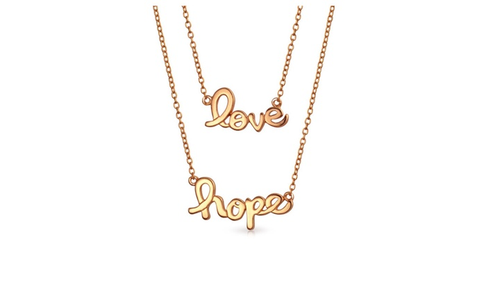 Bling Jewelry Love Hope Layered Necklace Set Rose Gold Plated 925