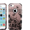 Insten Tuff Lace Hard Dual Silicone Case For Iphone 5c Rose Gold Black