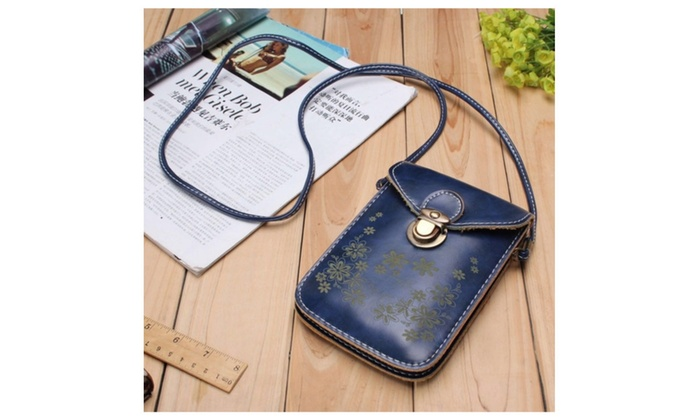 Women Vintage Leather Wallet Purse, cross-body shoulder bag