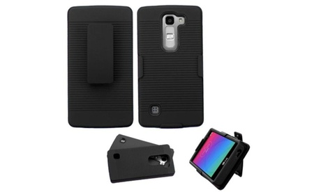 Insten Hybrid Rubber Coated Silicone Case For LG Escape 2 Logos Black 9a611509-97b5-463d-aac6-8720243e4327