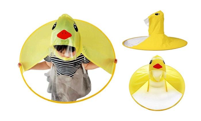 Kalaokei Children Foldable Cute UFO Shape Cartoon Duck Raincoat Umbrella Rain Hat Cape