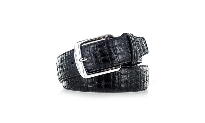Faddism Men's Genuine Leather Lizard Skin Textured Belt With Silver Bu