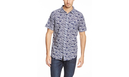 JACHS Short Sleeve Printed Cotton Button-Up