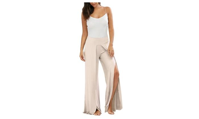 ebd15e346b1 Womens Casual High Slit Layered Wide Leg Flowy Cropped Palazzo Pants ...