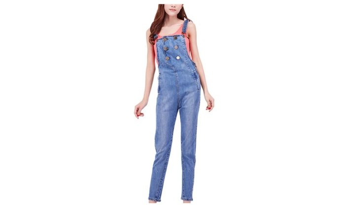 Keepinmind Women's Casual Strech Straps Bib Denim Overalls Pants