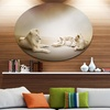 White Lion Family' Ultra Glossy Animal Oversized Metal Circle Wall Art